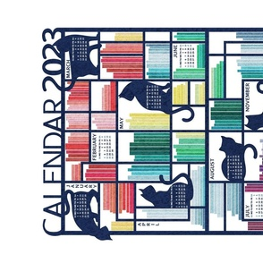 Rainbow bookshelf 2021 Calendar Tea Towel // white background navy blue shelf and library cats