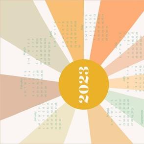 Bright New Year gold dawn 2021 calendar tea towel by Pippa Shaw