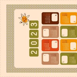 2021 Calendar Tea Towel Retro Atomic era style