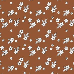Tiny flowers and petals sweet hibiscus blossom tropical vintage style garden neutral nursery rust copper brown SMALL