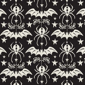 Night Creatures - Halloween Bats and Spiders Black Ivory Regular Scale