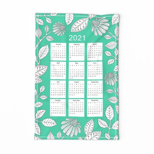 2021 Calendar Tea Towel 1 - sea green