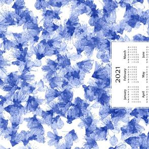 Indigo Pressed Flowers 2021 Tea Towel Calendar