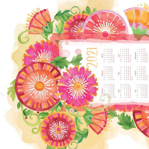 Big Blooms for Bright Days Ahead-2021 Tea Towel