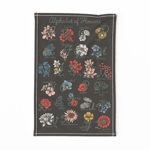 Lamb Illustration's Alphabet of Flowers Tea Towel