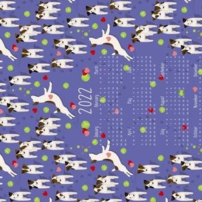 Parson Jack Russell Terriers dogs w heart 2022 calendar tea towel