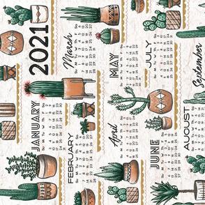 A Succulent 2021 // Cactus Calendar // Tea Towel, Wall Hanging, Cacti, Desert, Phoenix, Plants, Pots, Garden, Terra Cotta, Palm Springs, Modern, Textured © ZirkusDesign