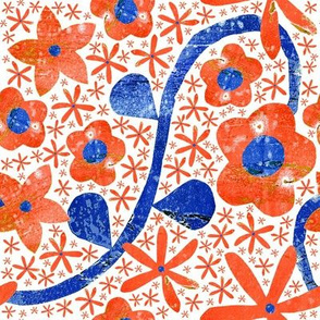 Orange Blue Flower Napkin