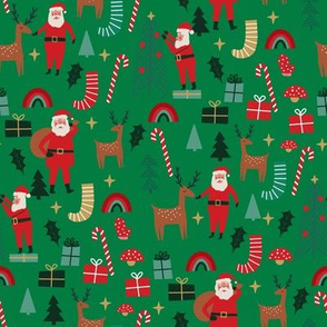 cute christmas fabric - holiday santa design - green