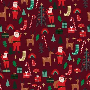 cute christmas fabric - holiday santa design - burgundy