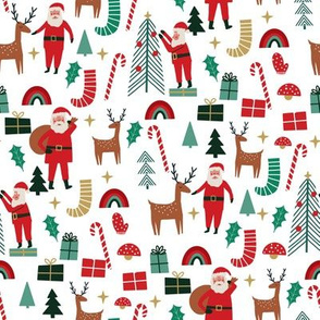 cute christmas fabric - holiday santa design - white