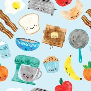 Happy Breakfast Foods - Blue