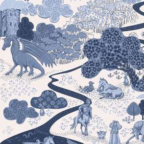Mythical Creatures Toile dark blue