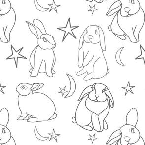 Bunny Moon Stars BW
