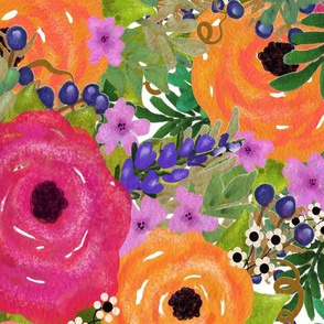 Large Watercolor Flowers