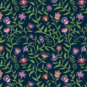 Folk Flowers Climbing Vines in Fall Colors - Medium Scale