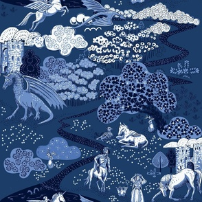 Mythical Creatures Toile blue ground