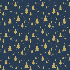 Stars and Christmas trees (Gold on Naval)