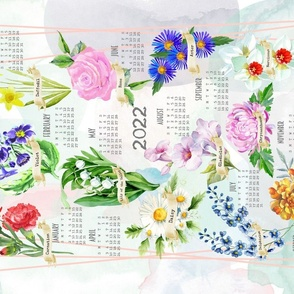 2021 Tea Towel Calendar - Birth Flowers