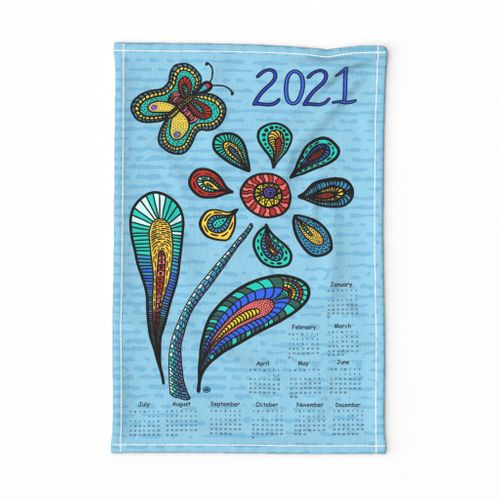 2021 Garden of hope, with butterfly,  multi-color on Blue, English version
