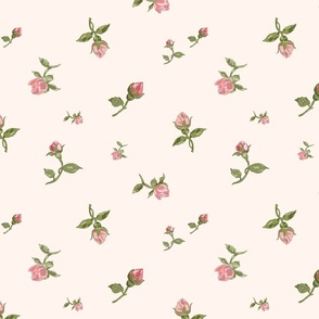 Scattered Vintage Rosebuds - blush cream, large