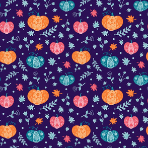 Decorative Pumpkins on Blue