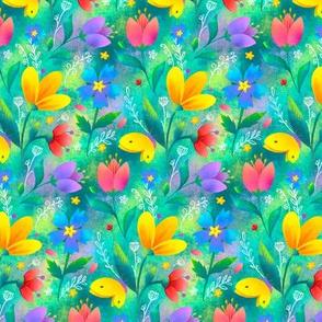 Summer flowers green background