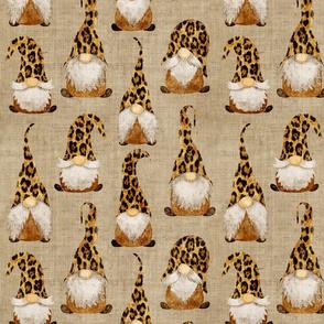 Leopard Print Gnomes on Camel Burlap - medium scale