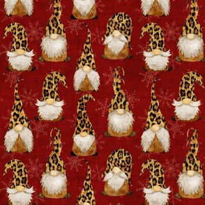 Leopard Print Gnomes and snowflakes on Red Wine Burlap - medium scale