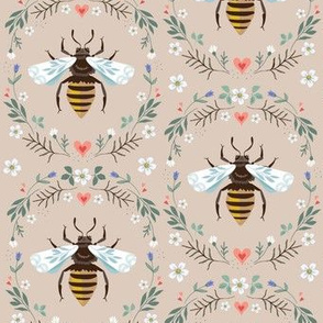 folksy honey bee on stone