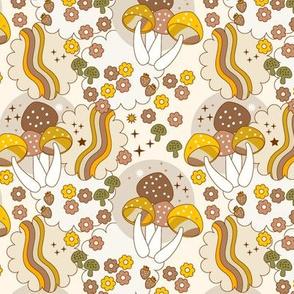 Groovy Mushrooms- beige