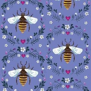 folksy honey bee on blue