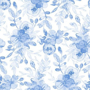 Soft Cornflower Blue Floral on White