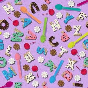 Ice Cream Alphabet on Purple