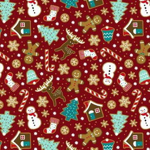 Christmas gingerbread cookies on dark red (small)