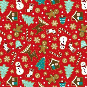 Christmas gingerbread cookies on bright red (small)