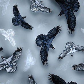 halloween crow crows raven ravens bird birds flying fly flight feather feathers night sky mist misty eerie whimsical mystic esoteric pagan pagans heathen heathens witch witchy witchcraft magic norse viking mythology odin corbeau corbeaux oiseau oiseaux  c