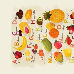 Fruity ABC tea towel