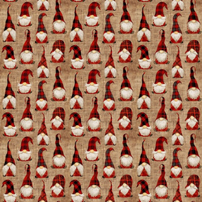 Red Buffalo Plaid Gnomes on Burlap - small scale