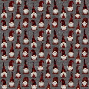 Red Buffalo Plaid Gnomes on Grey linen - small scale