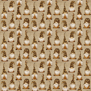 Leopard Gnomes on Camel linen - small scale