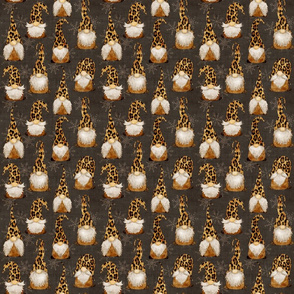 Leopard Gnomes on Chocolate Grey linen - small scale