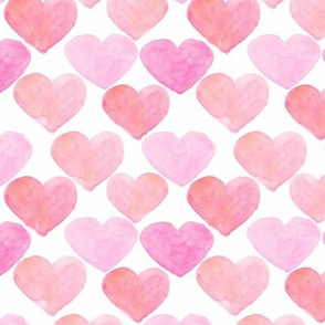 Pink Hearts Watercolor