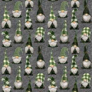 Green Plaid Gnomes on grey linen - mediumscale
