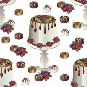 "8"" Chocolate Ganache Cake on Stand with Berries"