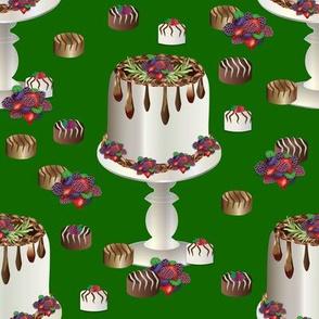 "8"" Chocolate Fondant Cake on Stand Green Background"
