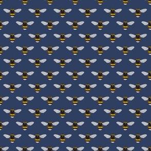 Ditsy Bumblebees on rhino blue