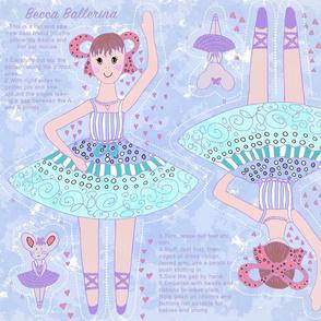 Becca Ballerina, blue cut and sew plushie