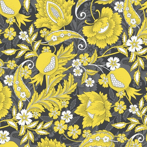 jacobean garnet yellow grey