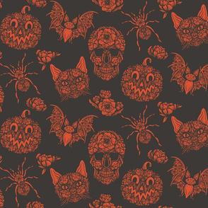 Lamb Illustration's Floral Halloween Pattern